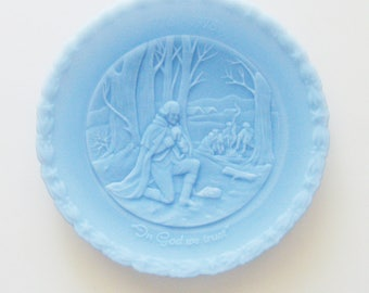 "Vintage ""In God We Trust"" Plate / 1976 Fenton Handmade Glass Plate  / A Portrait of Liberty - No. 3 of 4 / Unique Gift Under 50"