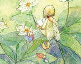 Fairy Reading Postcard, Ladybug single post card