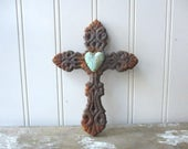 Cast iron cross faux rust verdigris heart wall hanging 6 inch metal cross brown Spiritual Divine Religious Rustic decor small cross SMR2