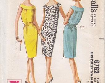 Vintage Pattern McCall's 6762 Sleeveless Dress 60s Size 14 B34 UNCUT