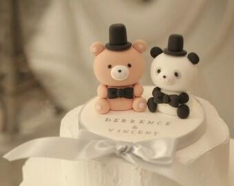 Panda And Bear Wedding Cake Topperpanda Topepr