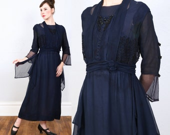 SALE - 1900s Silk Beaded Gown Edwardian Dress