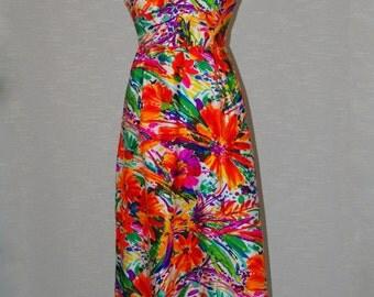 Vintage long dress Liberty House by Sydney 1960s 60s Size 12 Hawaiian dress Tropical floral print Hostess dress Summer patio gown