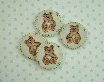 Brown Bear Button set of 4