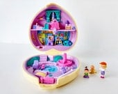 Polly Pocket Doll, Yellow Heart Compact Strollin Baby Babysitter Series Collection w girl doll kneeling toddler and baby 1994 Bluebird Toys
