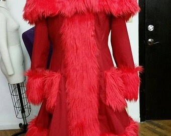 READY to Ship - All Red Coat - Statement Cosplay Muppet - Scarlet Jacket Faux Fur Elmo- Medium/Large