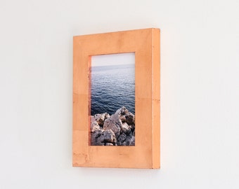 5x7 copper leaf picture frame with glass