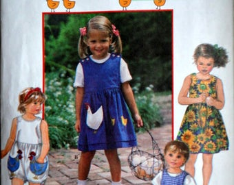 Simplicity 9466 Sewing Pattern, Girl/Toddlers Dress Or Jumper And Romper, Size 2-3-4, Uncut FF, Hen and Chick Appliques, Spring Summer
