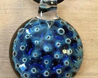 Cobalt Blue Tiny Bubbles Hand Blown Glass Necklace, Pendant, Focal Bead