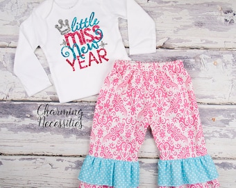Baby Girl New Years Eve Outfit, Holiday Toddler Clothes Top and Ruffle Pants Set LIttle Miss New Year Pink Aqua Charming Necessities