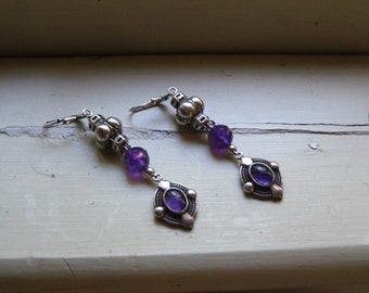 Long Dangle Earrings, Amethyst Jewelry, Gift Earrings, Gemstone Jewelry Silver Bead Earrings Purple Amethyst Long Earrings, Jewelry Beaded