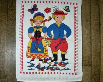 Kitchen Dish Towel  Vintage Huck Dutch Girl & Boy Tulips Butterflies Cherries
