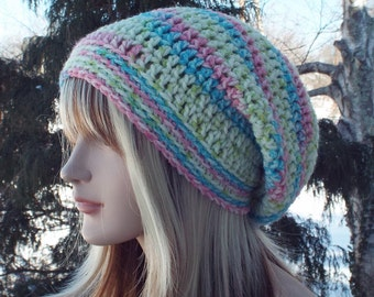 Womens Slouchy Beanie, Pink Lime and Aqua Crochet Hat, Slouchy Hat, Oversized Slouch Beanie, Chunky Hat, Baggy Beanie, Winter Hat Slouch Hat