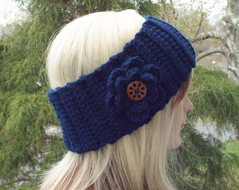 Navy Blue Ear Warmer, Crochet Headband with Flower, Head Wrap, Womens Ski Band, Chunky Earwarmer, Winter Headband, Gift for Her