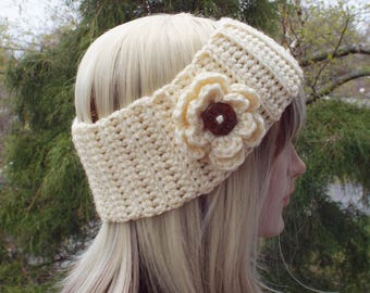 Cream Ear Warmer, Crochet Headband with Flower, Head Wrap, Womens Ski Band, Chunky Earwarmer, Winter Headband, Gift for Her