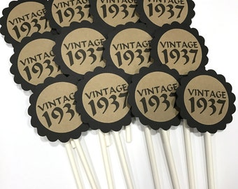 VINTAGE 1937 - 80th Birthday Cupcake Toppers - Black and Kraft Brown or Your Choice of Colors