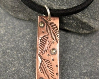 Chunky Copper Leaf Charm on Leather