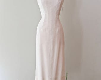 Vintage 1950s Ivory Linen Wiggle Dress By Claudia Young ~ Vintage 50s Cocktail Party Dress Sexy Fitted Wedding Dress