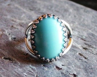 Turquoise GLASS ring, antique silver ring, turquoise ring, blue glass ring, holiday gift ideas, gift ideas for mom, unique Christmas gift