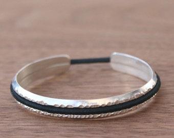 Hair Tie Bracelet, Hammered Sterling Silver