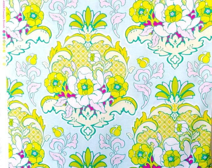 Heather Bailey Pop Garden Pineapple Brocade Fabric HB08 Ice blue
