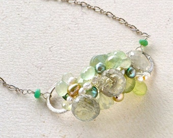 mint mojito cluster necklace - green gemstone cluster necklace, prehnite, silver, green amethyst, wire wrapped, handmade jewelry