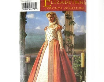 Elizabethan Dress Costume with Hoop Skirt / Simplicity 8881 / Shakespeare / Cosplay / Historical Sewing Pattern Size HH 6-8-10-12 / UNCUT