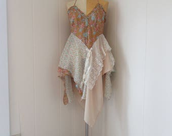 RESERVED for GP Boho Romantic Dress or Tunic Summery Cotton with Ruffles, Chiffon & Vintage Lace Size S - M