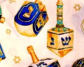 Hanukkah Dreidel Historical Spin Cotton Fabric REMNANT