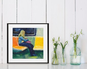 Art Oil Painting New York City Blonde Woman Subway Rider PRINT