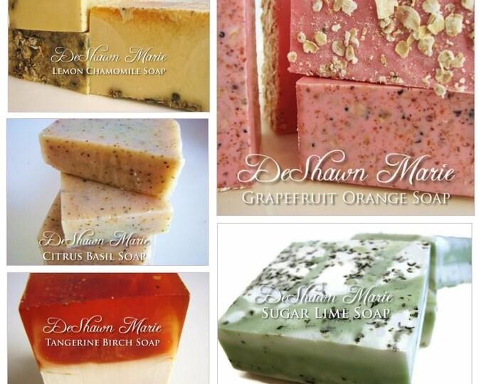 Soap Gift -  Citrus Lover's Soap gift set - soap gift bag - 5 soap vegan gift set