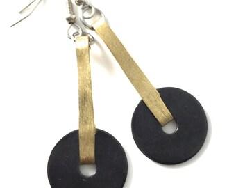 Brass Dangle Earrings Black Hardware Jewelry