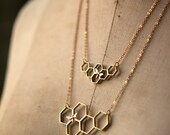 Honeycomb Necklace, Honeybee Pendant, Apiary, Apiology, Hexagon, Bee Necklace, Gold Brass, Copper Bee, Beekeeper