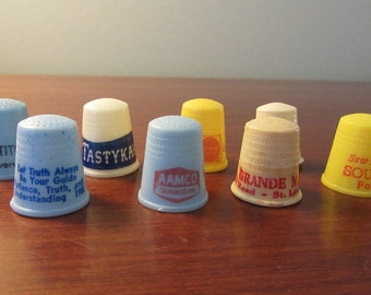 Eight vintage plastic advertising thimbles for one price; sewing supplies; notions, craft supplies, crafts