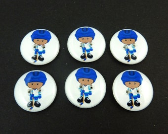 "6 Hockey Buttons.  3/4"" or 20 mm African American Boy Hockey Player Sewing Buttons.  Handmade by Me.  Washer and Dryer Safe."