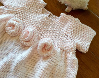 French Rosette Baby Dress Knitting Pattern PDF