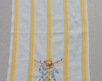 Vintage Embroidered Towel Angel Does Laundry on Monday Day of the Week DOW