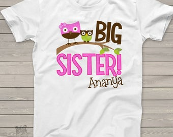 big sister shirt funky owl makes a great big sister to be shirt and gift MOWL1-002-1