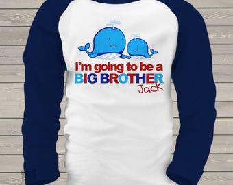 Big brother shirt- Whale raglan big brother announcement t-shirt MBEH1-003