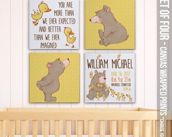 Personalized canvas prints for baby's nursery Cute Bear and Ducklings -personalized birth announcement SET of FOUR canvas prints FBP-002-B