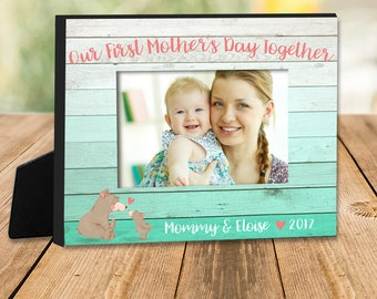 Mothers Day gift - first mothers day together personalized photo frame MFMD-001