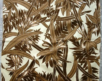 Tropical Leaf Fabric Scrap in Brown and Tan, Large Tropical Foliage Print on Smooth Cotton Fabric, For Pillow Cover or Small Sewing Project