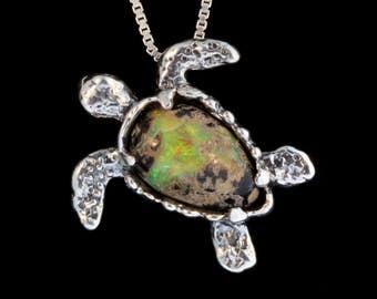 Turtle Jewelry Honu Necklace Sea Turtle Pendant Australian Boulder Opal with Tsavorite Eyes Sea Turtle Necklace Seaturtle Charm Tortoise