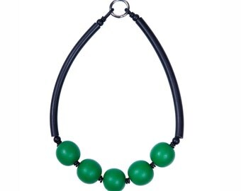 Chunky emerald green resin necklace, architectural statement jewelry by Frank Ideas