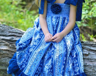 Handmade Little Girls Maxi Boho Dress - Summer Cotton Clothes - Baby - Toddler - Party Dresses - 4th of July - Blue  -  12 mo to 8 yrs