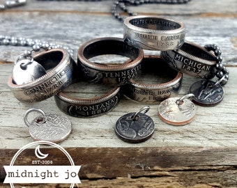 Double Sided Coin Ring & Necklace State Quarter Jewelry Set MS0905-TSTCUST