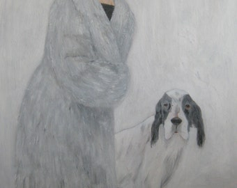 Woman and dog, 20x30ins