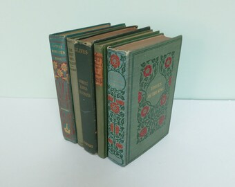 Green Antique Book Lot, Home Decor Collection, Instant Vintage Library, Alfred Lord Tennyson, Robert Louis Stevenson, J. M. Barrie & More