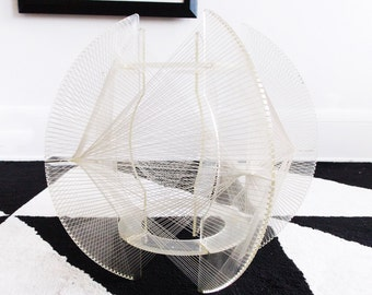 SPECIAL OFFER-1970s lucite string sculpture /Mid Century modernist abstract art statue / 70s string art