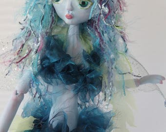 BLUE PIXIE, paper clay puppet art doll, handmade in the USA